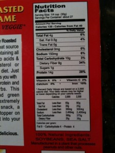 Nutrition facts for Dry Roasted Edamame